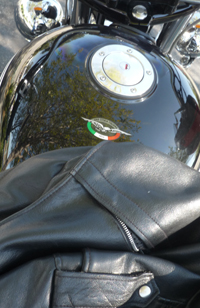Beautiful day, well-worn leather jacket, full tank of gas.  Buddy, let's ride.