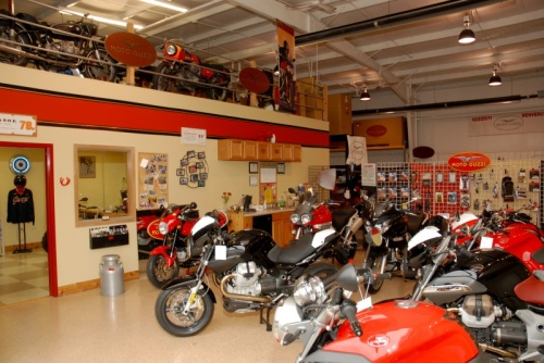 Rose Farm Showroom.  Note loft were Guzzi Kool-Aide is brewed.